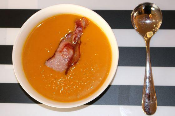 Pumpkin & Sweetpotato Soup wiht Bacon