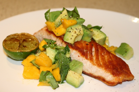 Salmon with Mango & Avocado Salsa