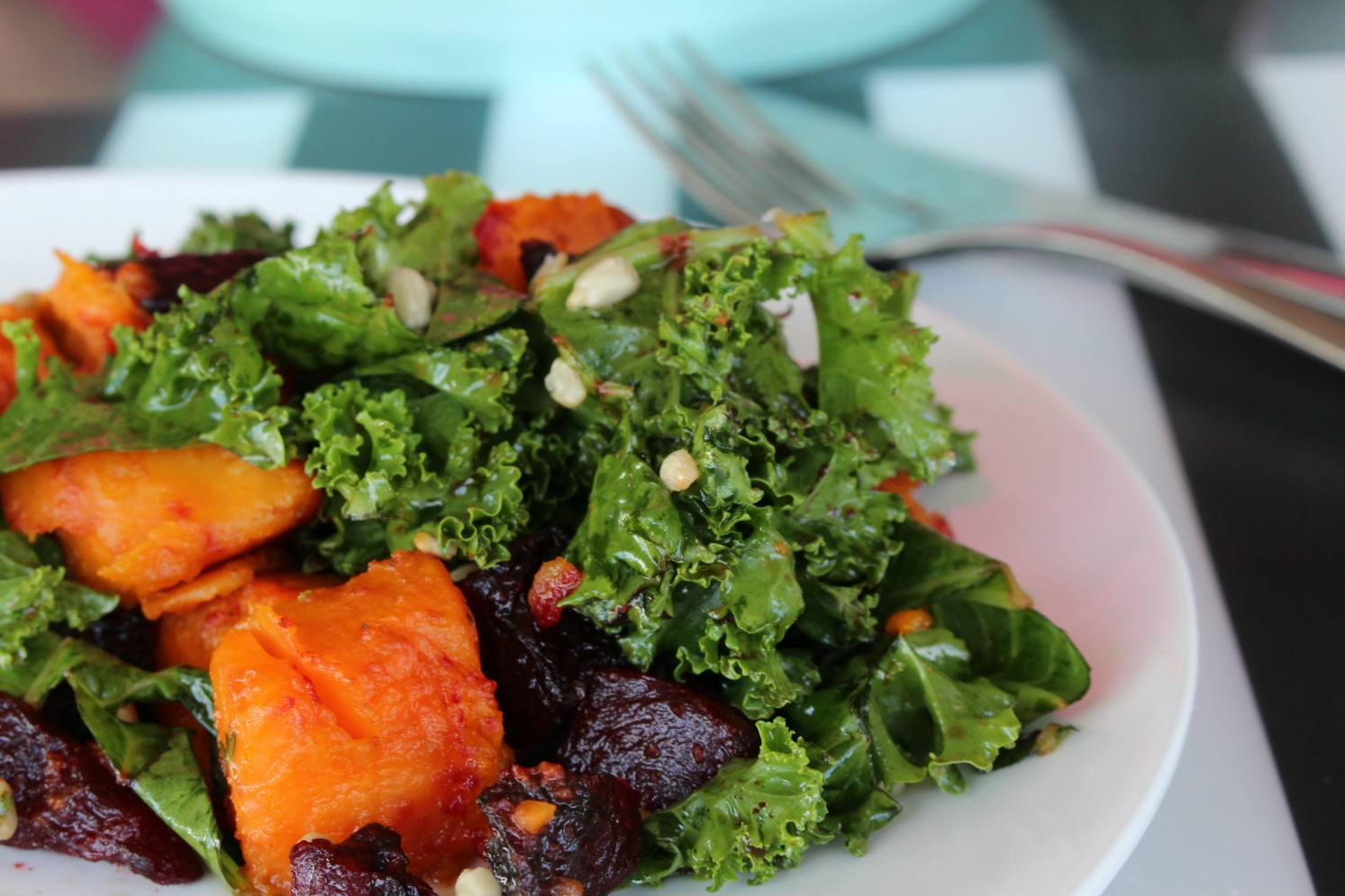 "One thought on "" Roasted Sweet Potato & Beetroot Kale Salad """