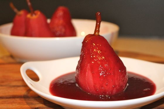 Berry Poached Pears